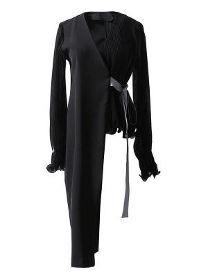 Frill Sleeve Casual Asymmetrical V neck Ruffled Folds Coats_2