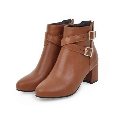 Daily Chunky Heel Buckle Pointed Toe Boots_2