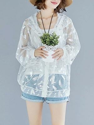 Chiffon Long Sleeve See-through Look Printed Casual Coat_6