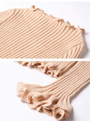 Apricot Wool Bateau/boat neck Solid Casual Sweater_7