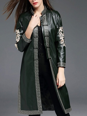 Green Buttoned PU Stand Collar Embroidered Coat_1