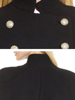 Black Solid Cape Sleeve Buttoned Casual Stand Collar Coat_5