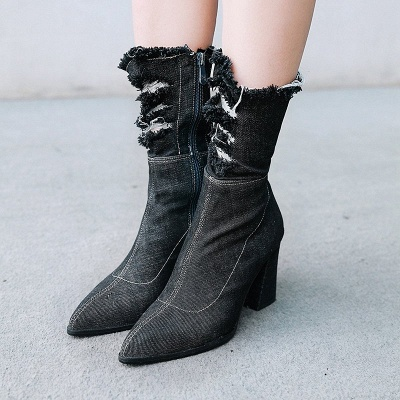 Women's Boots Dark Blue Pointed Toe Chunky Heel Boots_3