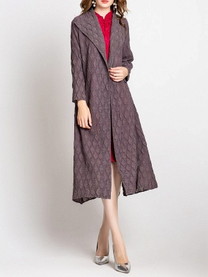 Long Sleeve Casual Slit Embossed Shawl Collar Solid Coat_6