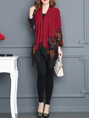 Floral Casual Long Sleeve Coat_9