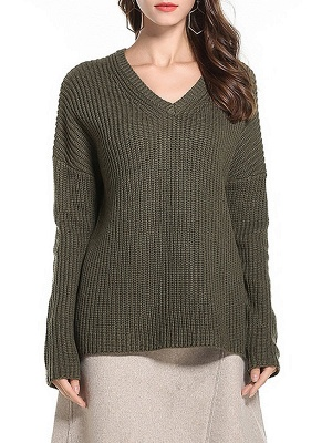 Casual Long Sleeve Knitted V neck Sweater_6