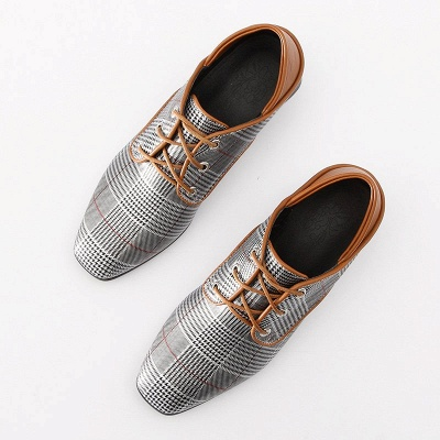 Checkered Lace-up Daily Square Toe Oxfords_10