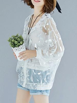 Chiffon Long Sleeve See-through Look Printed Casual Coat_1