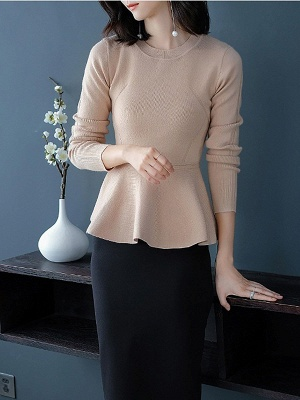 Ruffled Solid Long Sleeve Crew Neck Casual Sweater_11