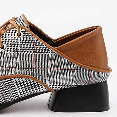 Checkered Lace-up Daily Square Toe Oxfords_6