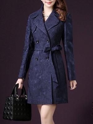 Blue Long Sleeve Blouson Buttoned Work Coat_1