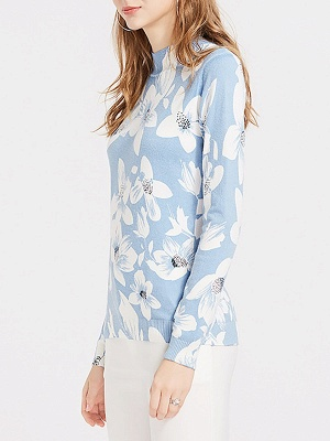 Blue Floral Casual Long Sleeve Stand Collar Sweater_3