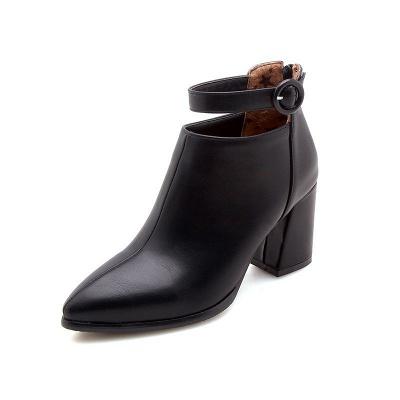 Chunky Heel PU Daily Tie Round Toe Boots_7