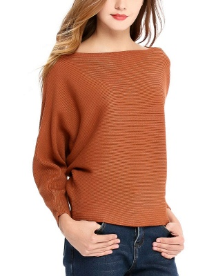 Slash Neck Batwing Simple Solid Sweater_2