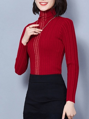 Ribbed Long Sleeve Solid Casual Sheath Sweater_2