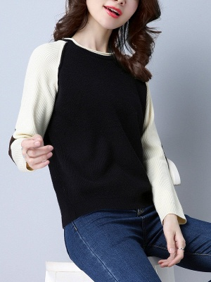 Patch Long Sleeve Casual Crew Neck Sweater_2