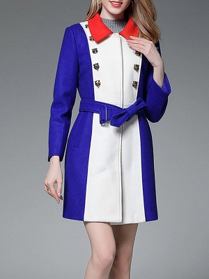 Royal blue Solid Buttoned Pockets Color-block Coat_2