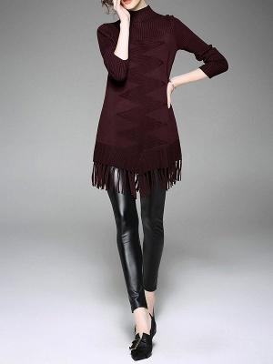 Burgundy Geometric Sheath Casual Sweater_7