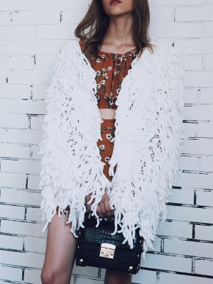 Long Sleeve Solid Shift Casual Crew Neck Fringed Coat_1