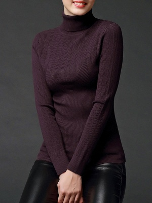 Long Sleeve Knitted Casual Sweater_2