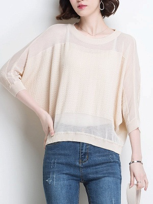 Casual Crew Neck Batwing Ice Yarn Knitted Shift Sweater_3