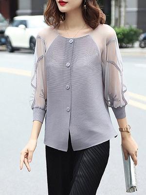 3/4 Sleeve Buttoned Beaded Paneled Pleated Coat_3