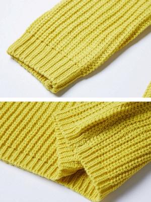 Long Sleeve Bateau/boat neck Casual Ribbed Sweater_6