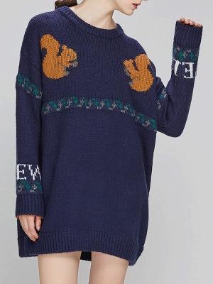 Dark blue Crew Neck Long Sleeve Casual Sweater_6
