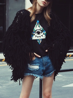 Long Sleeve Solid Shift Casual Crew Neck Fringed Coat_11