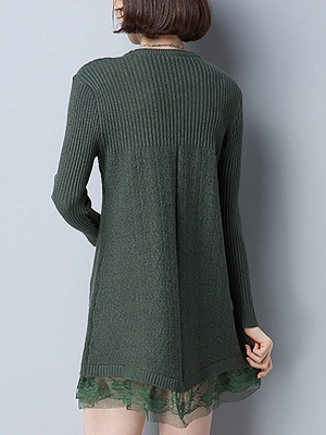 Long Sleeve Solid Casual Crew Neck Cotton Sweater_9