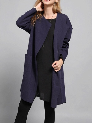 Navy Blue Pockets Solid Long Sleeve Coat_1
