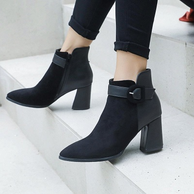 Daily Chunky Heel Suede Round Toe Boot_4