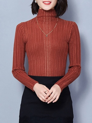 Ribbed Long Sleeve Solid Casual Sheath Sweater_3