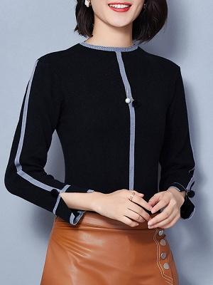 Crew Neck Long Sleeve Casual Paneled Sweater_4