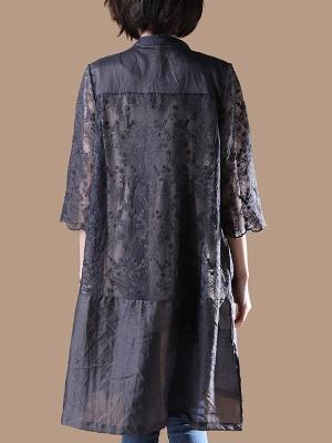 Gray Crew Neck Half Sleeve Guipure lace Paneled Coat_3