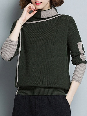 Plain Casual Turtleneck Long Sleeve Shift Sweater_3