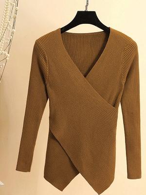 Cotton Sheath Casual Long Sleeve Sweater_4