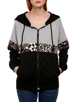 Black Leopard Print Casual Coat_1