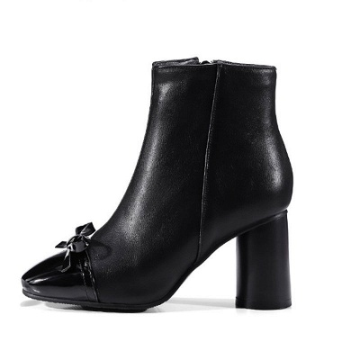 Daily Zipper Square Toe Bowknot Chunky Heel Boots_10