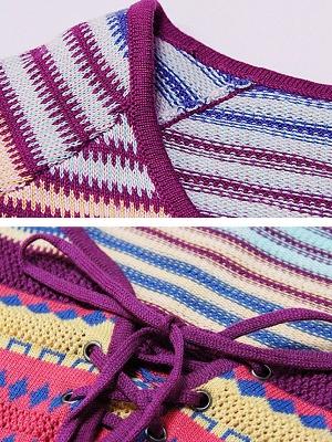 Multicolor Printed Long Sleeve Geometric Sweater_5