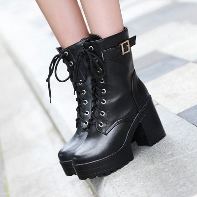 Lace-up PU Chunky Heel Round Toe Boots_3