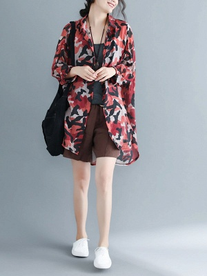Camouflage Casual Long Sleeve Abstract Shift Printed Coat_4