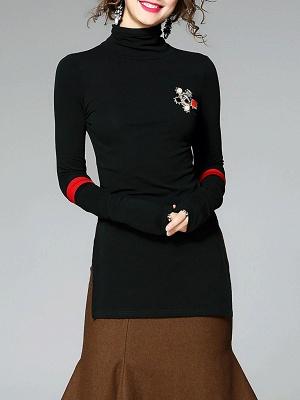Army green Turtleneck Slit Long Sleeve Cotton Sweater_4