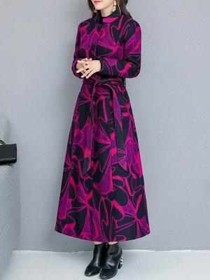 Rose Shift Casual Long Sleeve Printed Stand Collar Coat_4