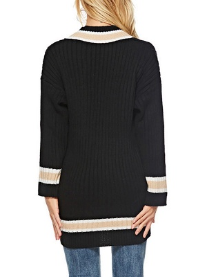 Casual Ribbed Solid Long Sleeve Sweater_9