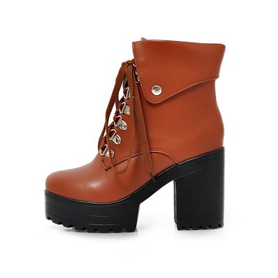 Chunky Heel Lace-up PU Daily Round Toe Boot_9