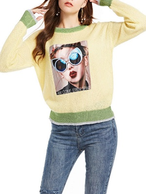 Yellow Long Sleeve Graphic Sweater_1