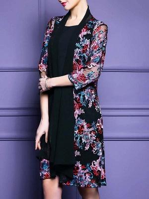 Black Floral Shift 3/4 Sleeve Casual Coat_7