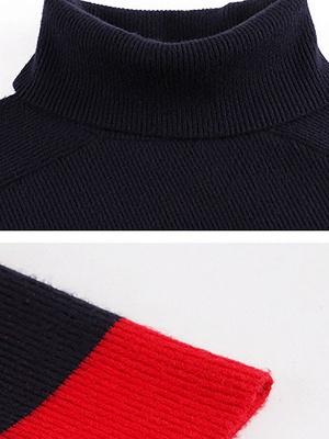 Navy Blue Sheath Casual Sweater_5