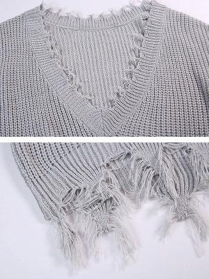 Shift Long Sleeve Bateau/boat neck Casual Fringed Sweater_7